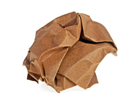 wastrel: Crumpled brown paper isolated on white background