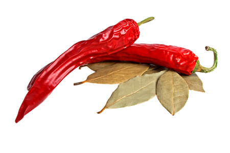 Red pepper with laurel leaves on white background Stock Photo