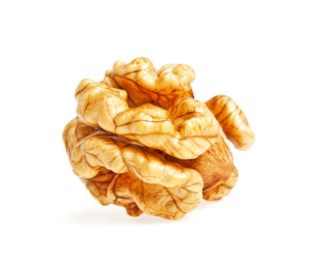 Kernel walnut on a white background