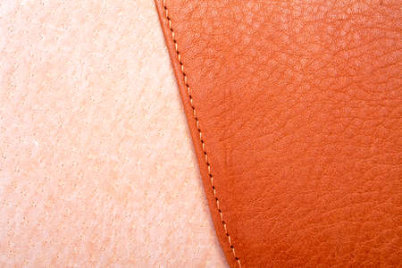 Brown leather label with seam Stock Photo