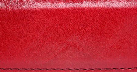red leather: Red leather belt with seam, abstract background Stock Photo