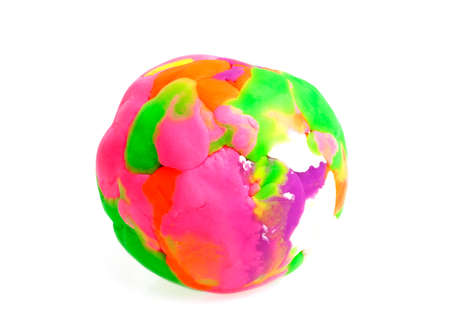 Colorful plasticine ball on white background Stock Photo