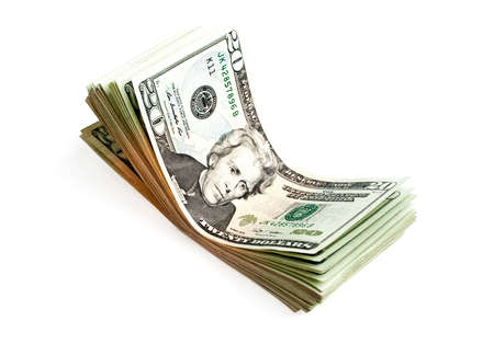 Banknotes in twenty dollars isolated on a white background Zdjęcie Seryjne