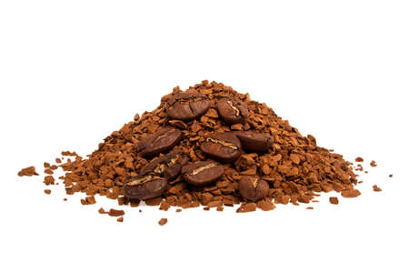 soluble: Soluble coffee and coffee beans on a white background Stock Photo