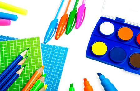 School and office supplies on a white background Stock Photo