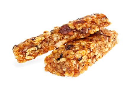 Healthy cereal bar isolated on white background