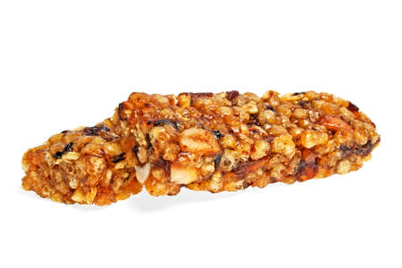 cereal bar: Healthy cereal bar isolated on white background