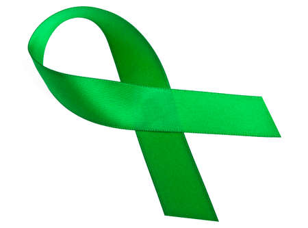 awareness ribbon: Green awareness ribbon isolated on a white background
