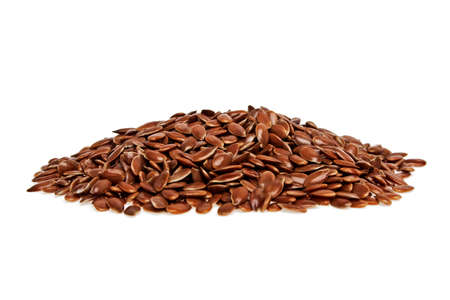 brown flax: Heap of brown flax seed or linseed isolated on white background