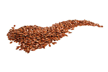Heap of brown flax seed or linseed isolated on white background