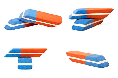 Colorful erasers collection isolated on a white background