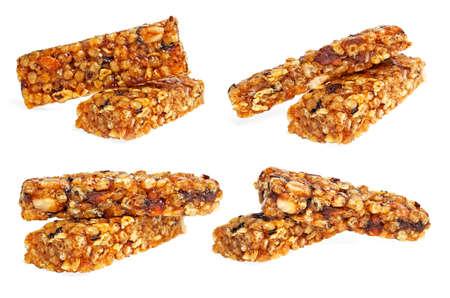 cereal bar: saludable colección de barras de cereales en el fondo blanco