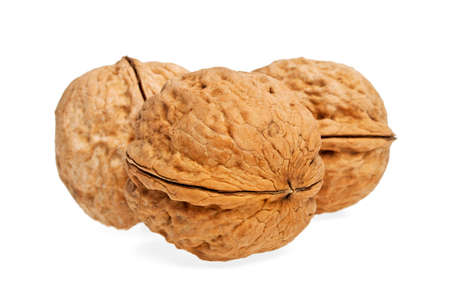 Walnuts on a white background, isolated objects