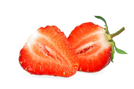 two and a half: Two half of strawberry isolated on a white background