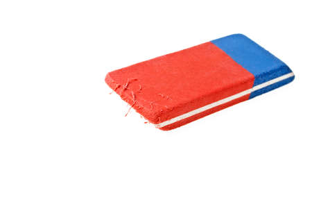 blunder: Red and blue eraser on a white background