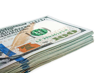 onehundred: One hundred dollars banknotes isolated on a white background