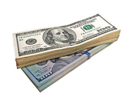 dolar: Billetes de cien dólares en un fondo blanco