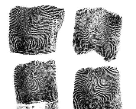 labyrinthine: Set of fingerprint on white background Stock Photo
