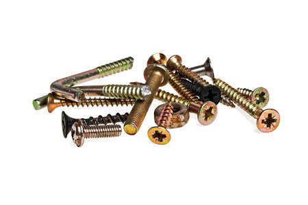 tuercas y tornillos: Set of different screws, nuts, bolts, isolated on a white background Foto de archivo