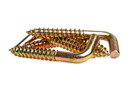 dowel: Dowel hooks on a white background Stock Photo
