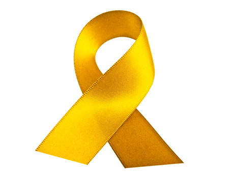 Yellow ribbon isolated on a white background