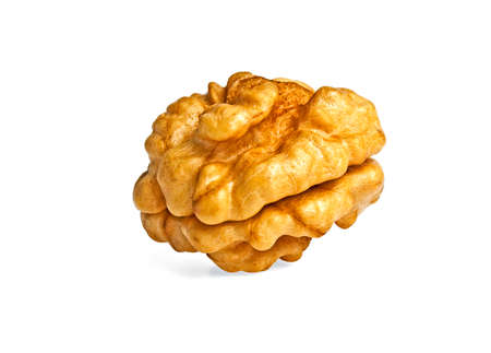 Kernel walnut isolated on the white background closeup