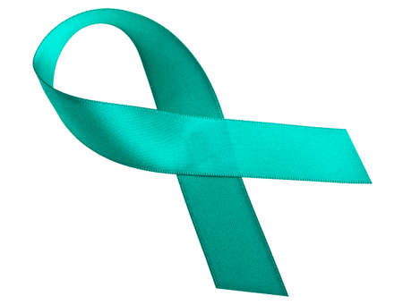 ovarian cancer: Teal ribbon on a white background