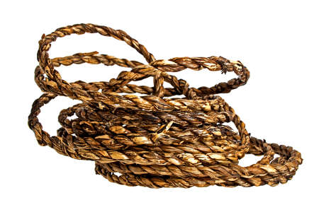 Rope made of rattan on a white background Stock Photo