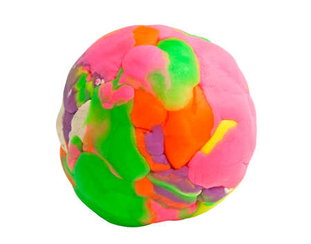 Colorful plasticine ball on white background Stockfoto