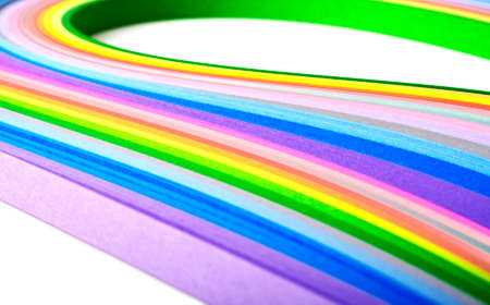 Paper strips in rainbow colors, close up