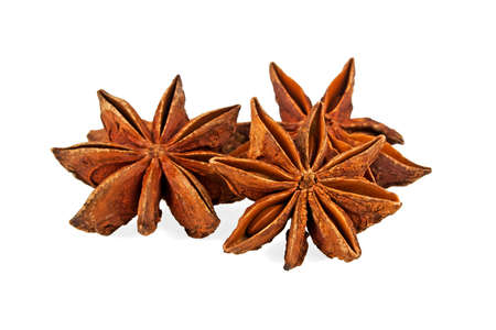 Star anise spice fruits isolated on white background Stockfoto