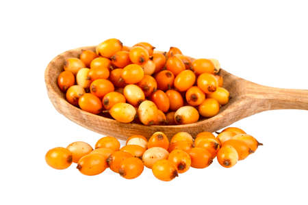 buckthorn: Sea buckthorn berries in wooden spoon on a white background