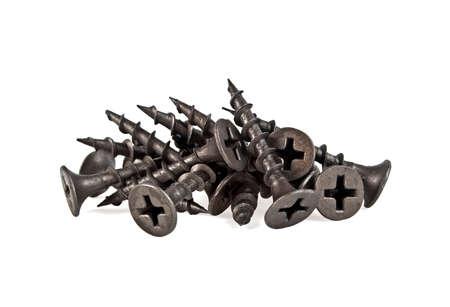 Black screws on white background Stock Photo