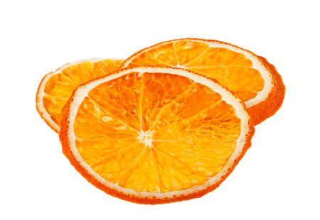 christmas scent: Dried orange slices isolated on white background