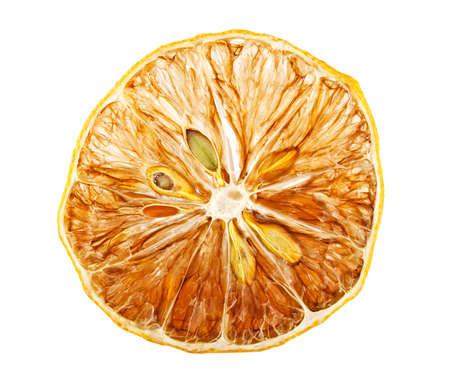 Dried lemon slice isolated on white background Stock Photo