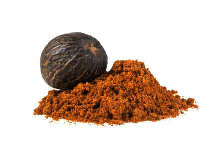 odorous: Nutmeg and its powder isolated on a white background