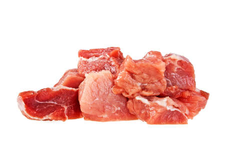 satined: Raw fresh meat chunks isolated on white background Stock Photo
