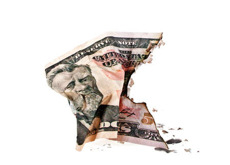 fifty dollar bill: Crumpled fifty dollar bill on white background
