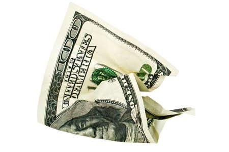 one hundred dollar bill: Crumpled one hundred dollar bill on white background