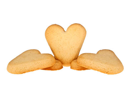 heartshaped: Cookies in the shape of a heart on a white background