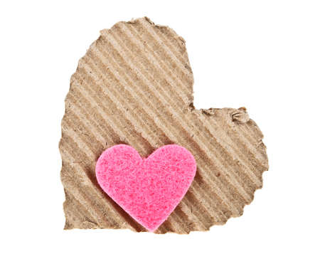 Corrugated cardboard in the shape of heart