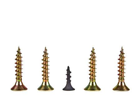 Various screws on a white background Stock Photo