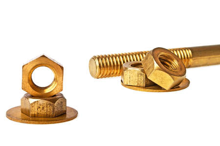 gudgeon: Screw and screw-nuts isolated on white background