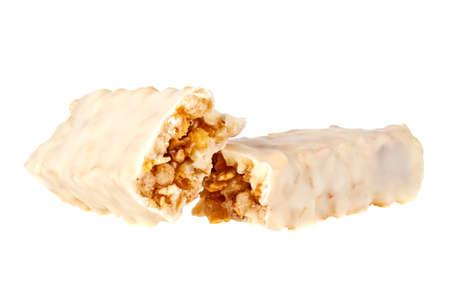 Energy bar in yogurt isolated on white background