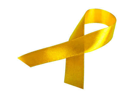 Yellow Support the Troops Ribbon isolated on white background Stock Photo
