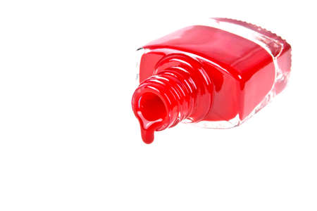flashy: Red nail polish on a white background