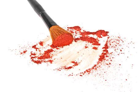 Make-up brush and powder isolated on white background