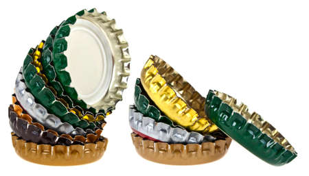 colored bottle: Colored beer bottle caps isolated on white background
