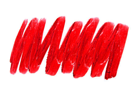Red color lipstick stroke on white background