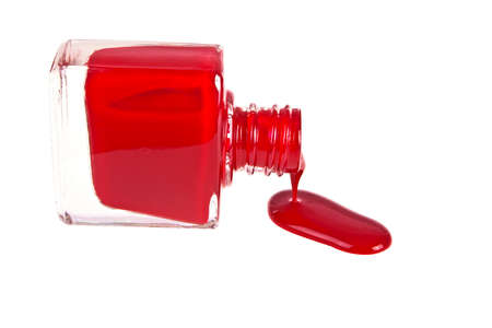 twist cap: Red nail polish on a white background